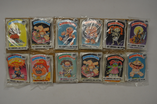 Complete Set of 12 Garbage Pail Kids Buttons