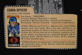 Cobra Officer file card