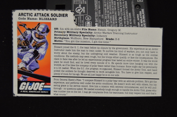 Blizzard Artic Attack Soldier File Card