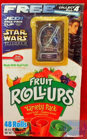 Fruit Roll Ups Attack of the Clones w/ Obi-Wan Jedi Backpack Clip