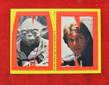 Sticker #7 letters M and N Yoda and Han
