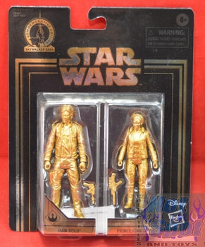 Gold Exclusive 2 Pack Leia Han Solo Figures