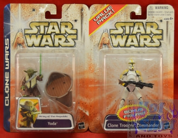 Clone Wars Value Two Pack Yoda/ Clone Trooper Commander Figures
