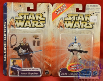Clone Wars Value Two Pack Anakin Skywalker/ Clone Trooper Lieutenant Figures