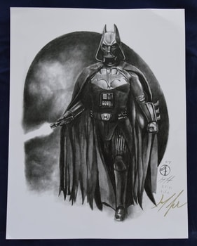 """BatVader"" Artwork By Erin Fife 8 1/2 x 11 *autographed*"